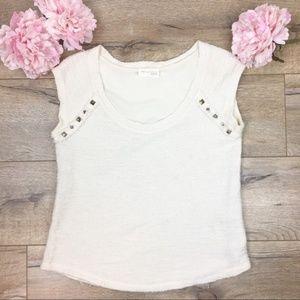 Zara Ivory Boucle Short Sleeve Knit Top Size M